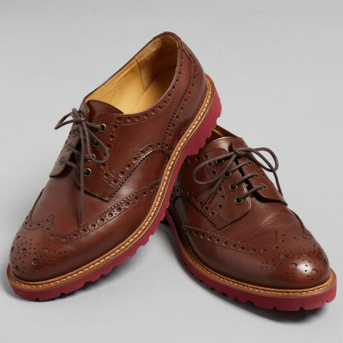 Dark Brown Polished Leather Lace Up Oxfords - Thomas Dean & Co