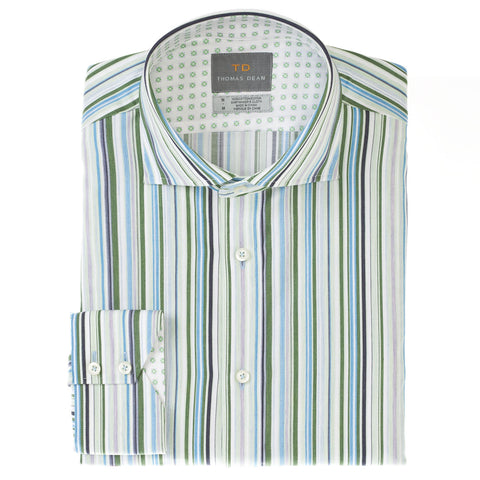 Big & Tall Green Stripe Button Down Sport Shirt