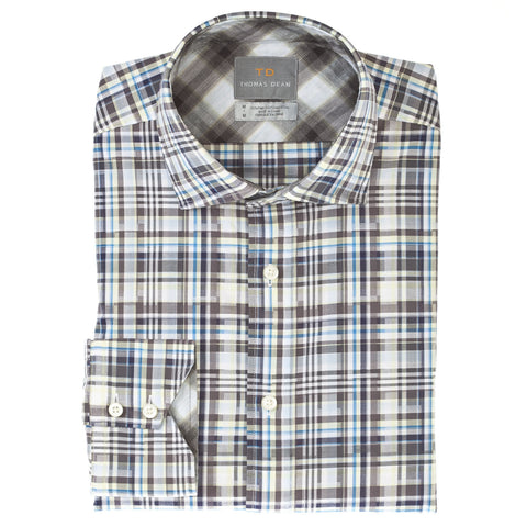 Big & Tall Grey Check Button Down Sport Shirt