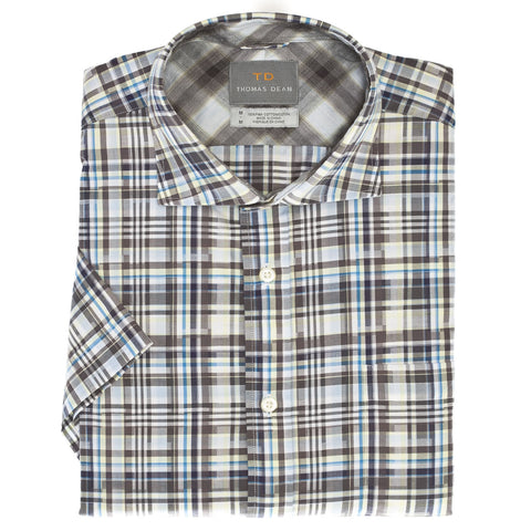 Big & Tall Grey Check Short Sleeve Sport Shirt