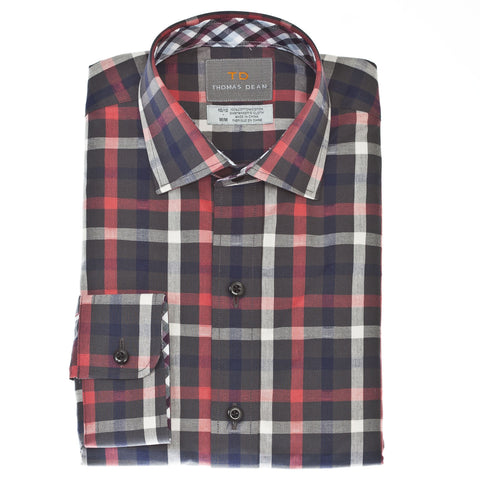 Small Boys Red Plaid Button Down Shirt