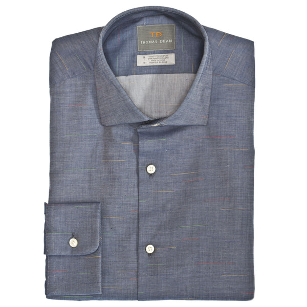 Blue Chambray Button Down Sport Shirt - Thomas Dean & Co