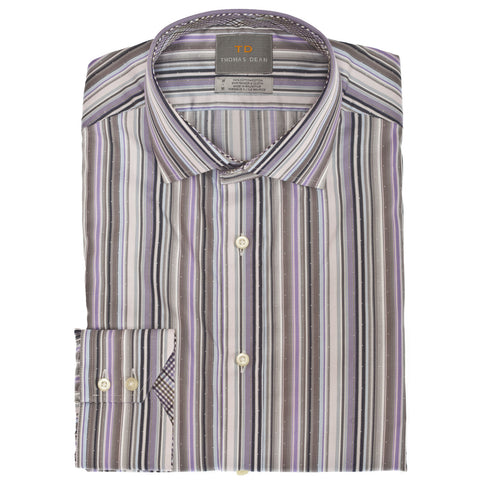 Purple Multi Stripe Button Down Sport Shirt