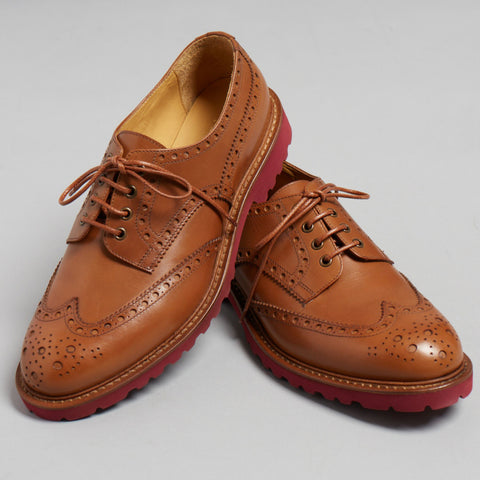 Tan Polished Leather Lace Up Oxfords