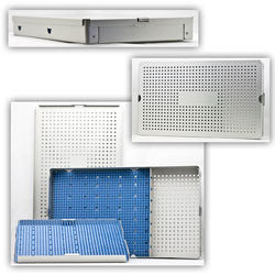 Aluminum Sterilization Tray With Cannula Slots 14.5'' L X 8.5''' W X 1.5'' H - CalTray A6000