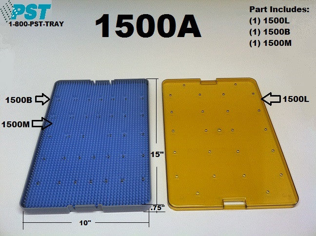 PST Instrument Sterilization Trays 10'' x 15'' x 0.75'' (1500A)