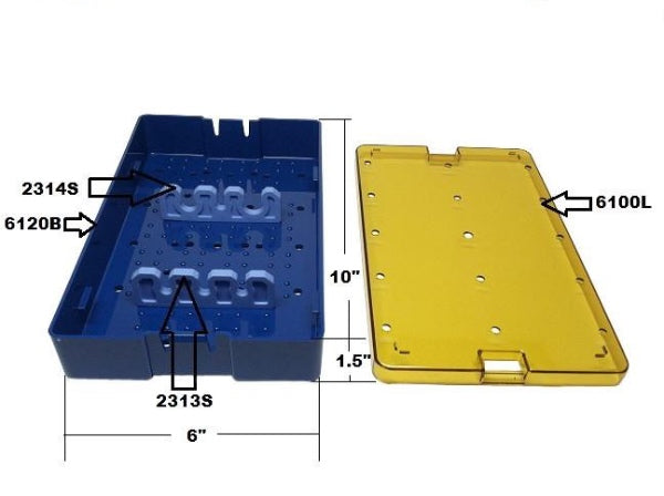 PST Phaco Sterilization Tray 6'' x 10'' x 1.5'' (With Silicone Bars)