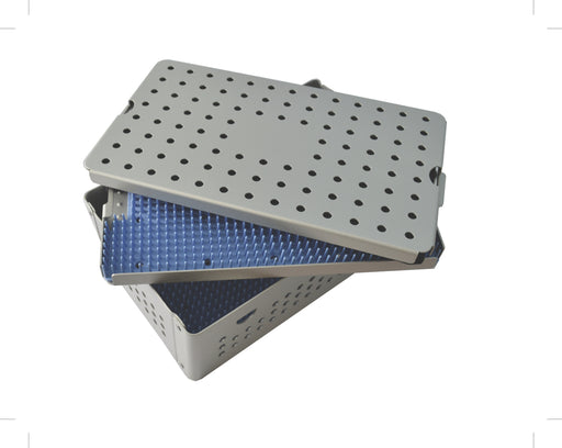 Aluminum Sterilization Tray Large Deep Double Layer Size 10'' L X 6'' W X 1.5'' H - CalTray A4100