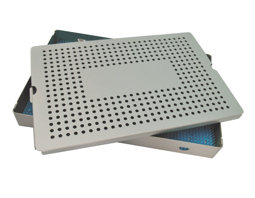 Aluminum Sterilization Tray Deep Single Layer 15'' L X 10'' W X 1.5'' H - CalTray A7050