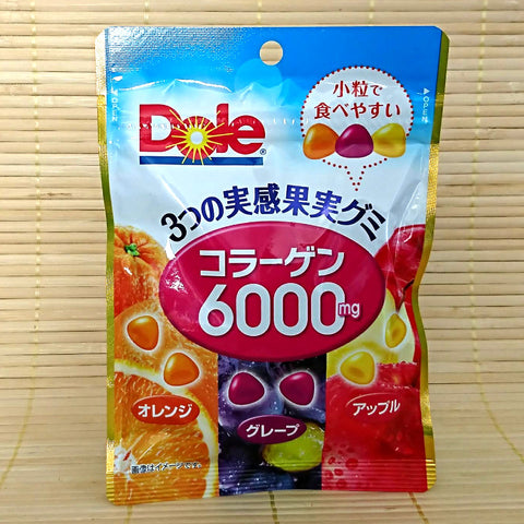 Dole Gummy Candy - Collagen Orange, Grape & Apple