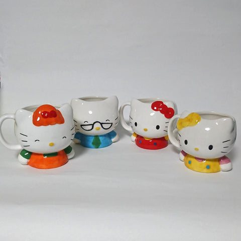zz-- Hello Kitty Ceramic Head Mugs - 4 Piece Set --zz