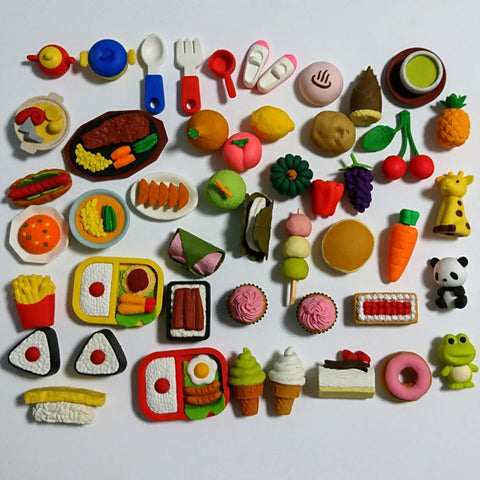 zz-- Iwako Eraser LOT of 50+ Foods & Animals --zz