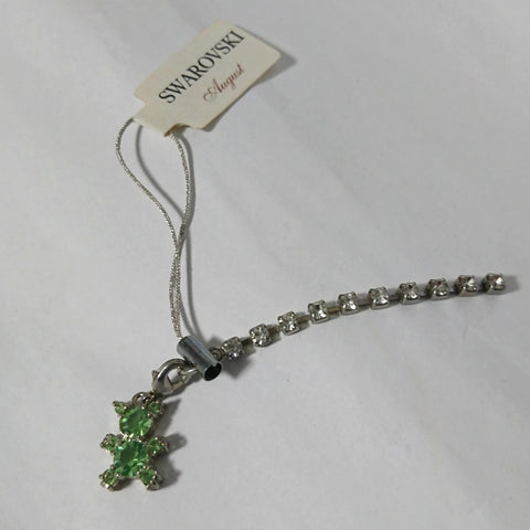 zz-- Swarovski Cell Phone Strap - Green Bear --zz