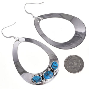 3 Stone Turquoise and Sterling Teardrop Earrings