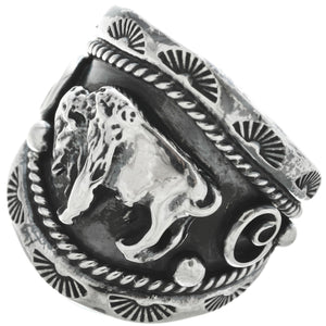 Men's Navajo Sterling Buffalo Ring