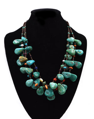 3-Strand Turquoise Nugget Necklace