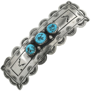 3 Stone Turquoise and Silver Hair Barrette