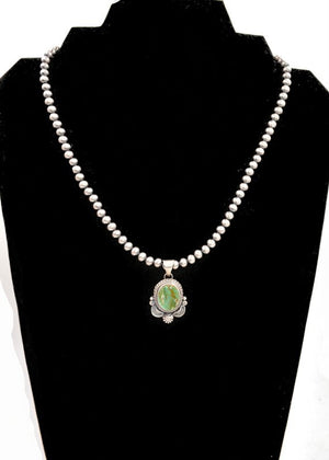 Green Royston Pendant and Navajo Pearls