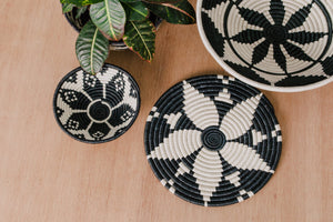 Small Black + White Woven Basket