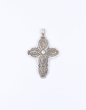 Sterling Silver Stamped Cross Pendant