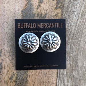 Hand Stamped Silver Concho Earrings