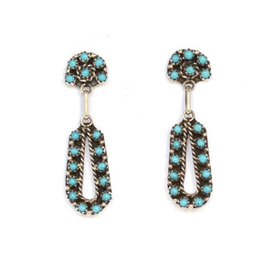 Zuni Turquoise Pettit Point Drop Earrings