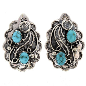 Sterling Floral Blossom Turquoise Earrings