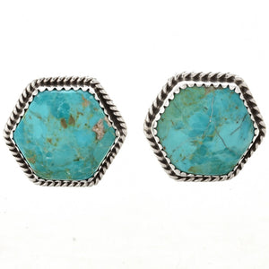 Hexagon Turquoise and Sterling Silver Earrings