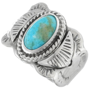 Wide Band Stamped Turquoise Ring