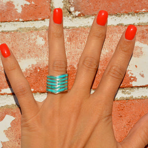 Chevron 5 Bar Turquoise Inlay Ring
