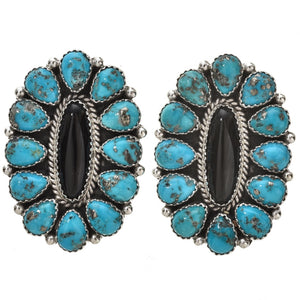 Turquoise and Onyx Navajo Cluster Earrings