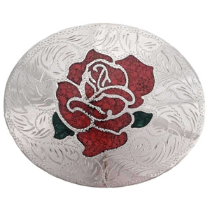 Western Rose Inlaid Belt Buckle