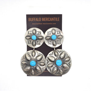 Tiered Turquoise Concho Earrings