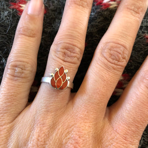 Zuni Coral Inlay Ring