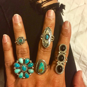 Navajo Turquoise Cluster Ring