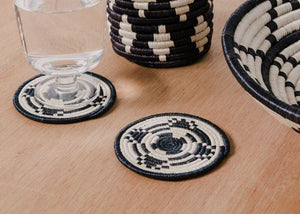 Black + White Tribal Coaster Set
