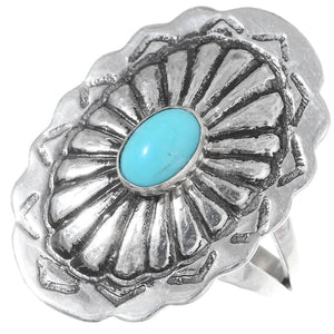 Stamped Turquoise Concho Ring