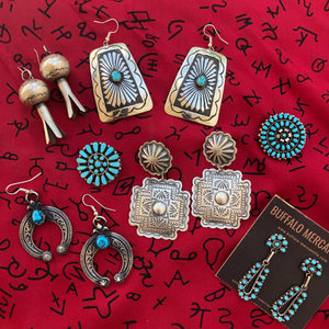 Turquoise and Sterling Naja Earrings