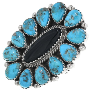 Turquoise and Onyx Navajo Cluster Ring