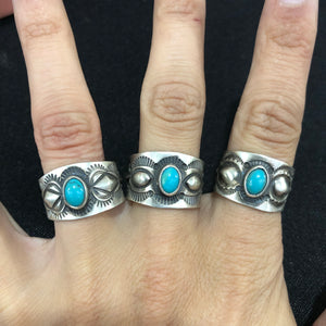 Geraldine James Stamped Sterling and Turquoise Ring