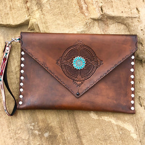 Large Leather Clutch with Turquoise