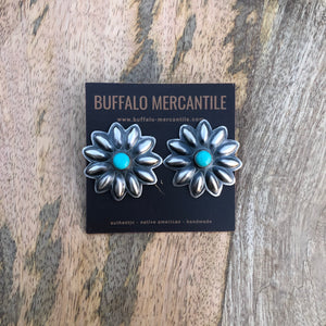 Turquoise Stamped Silver Concho Earrings