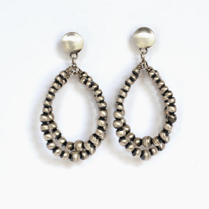 Handmade Navajo Pearl Double Hoop Earrings