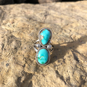 Double Stone Large Turquoise Ring