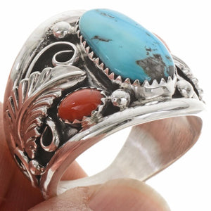 Men's Turquoise and Coral Ring