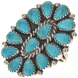 Navajo Oval Turquoise Cluster Ring