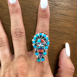 Zuni Multi-Stone Sunface Inlay Ring