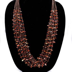 10 Strand Spiny Oyster and Penn Shell Heishi Necklace