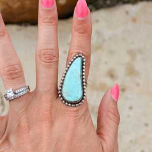 Tear-shaped Turquoise & Sterling Ring-size 7.5