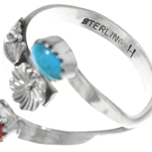 Adjustable Coral + Turquoise Ring